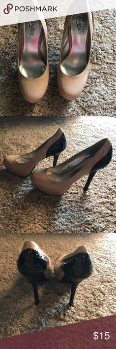 Candies platform heels Tan and black /size 7 1/2/barely worn/shoot me an offer Candie's Shoes Heels