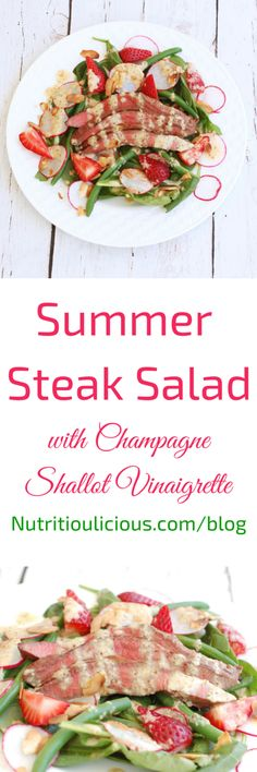 Umami-rich grilled flank steak tops a bed of baby spinach, crisp green beans, and sweet strawberries in this light summer salad drizzled with a sparkling, tangy champagne shallot vinaigrette. Gluten-free, Dairy-free. Recipe @jlevinsonrd.