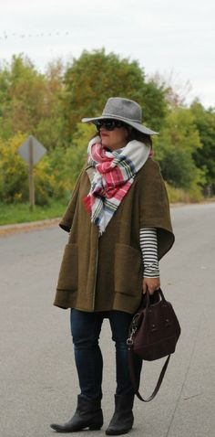 Fall street style cape outfit.