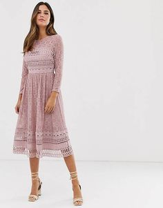 Shop ASOS DESIGN lace midi skater dress in mink. With a variety of delivery, payment and return options available, shopping with ASOS is easy and secure. Shop with ASOS today. Skater Style Dress, Midi Skater Dress, Midi Shirt Dress, Midi Dress With Sleeves, Lace Midi Dress, Maxi Wrap Dress, Long Sleeve Midi Dress, Asos Dress, Pencil Dress