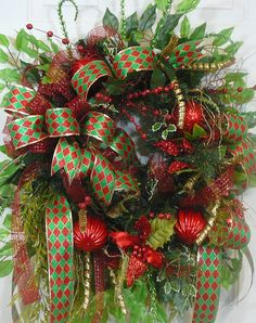 Poinsettia Door Wreath, Glittering XL Double Bow with Red and Green Christmas Ornaments
