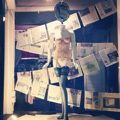 Aug 2013 Window Display #bustier #peach #pink #embroidery #thighhighs #garters #mirror #reflection