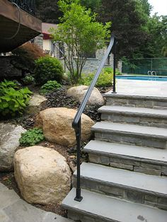 bluestone steps fieldstone risers - Google Search Patio Steps, Brick Steps, Brick Columns, Outdoor Steps, Stone Steps, Outside Handrails, Outdoor Stair Railing, Wrought Iron Stair Railing, Iron Railings