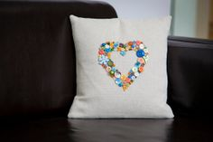 Handmade Cushion Cover embellished with dozens by MadeByButtonLove, £35.00
