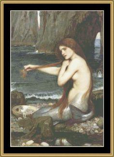 John Waterhouse Collection: A Mermaid [JW-06] - $16.00 : Mystic Stitch Inc, The fine art of counted cross stitch patterns