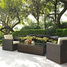 3 Piece Wicker Resin Patio Furniture Set With Cushions