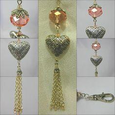 Peach Crystal and Tasselled Heart Handbag Charm