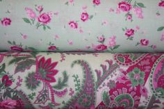 Billet Doux by Verna Mosquera Floral Paisley in Sky and Rosebud in Spruce - Free Spirit fabric  - PWVM094 HALF Yard Bundle