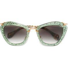 aab9b088b1d Miu Miu  Noir  glitter sunglasses ( 415) ❤ liked on Polyvore featuring  accessories