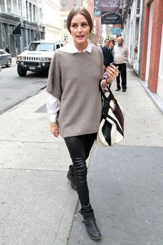 Olivia Palermo sports leather trousers and an oversized sweater while out and about in New York City.  10/23/2012.