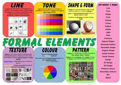 Formal Elements Key Words and Definitions Mat. Visual Elements Of Art, Formal Elements Of Art, Literacy And Numeracy, Visual Literacy, Middle School Art, Art School, High School, Art Room Posters, Art Handouts
