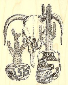 Western-Cactus-Still-Life-Wood-Mounted-Stamp-Impression-Obsession-New-D1171