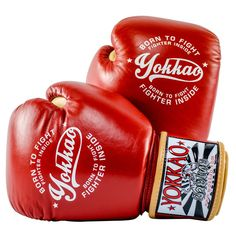 Part of the YOKKAO 2017 collection Handcrafted by professionals in Thailand Superior foam padding Snug and comfortable fit Premium cowhide leather with reinforced stitching Variety of sizes available Hook and loop closure Muay Thai Gloves, Red Boxing Gloves, Martial Arts Equipment, Best Gloves, Vintage Box, Handmade, Destro, Comfort, Cowhide Leather