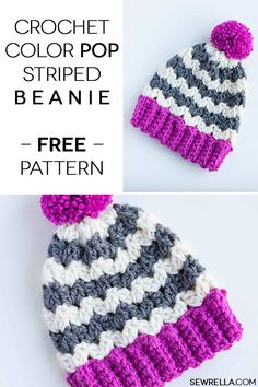 Crochet this easy color pop striped beanie with pom pom and knit like ribbing! It uses chunky bulky yarn and a chevron. Free beginner pattern