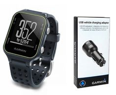 Garmin Approach S20 (Slate) Golf GPS Watch with Garmin USB Car Charge Adapter | Activity Tracker *** Check out the image by visiting the link.