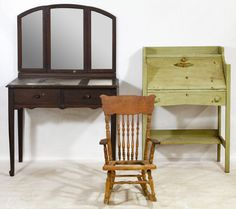 Lot 47: Oak Furniture Assortment; Including a dressing table with tri-fold mirror, a painted slant front secretary desk and a child's rocking chair