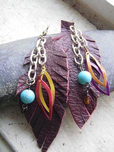 Copious: Leather Feather Leaf Dangle Earrings/ Earthy Tribal Long Earrings