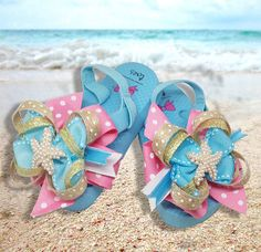 22620339f2c7ff Gigi Boutique Bow on Flip Flops with Pearl by BowsOverToes on Etsy Flip  Flop Sandals
