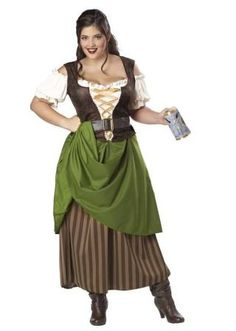 Plus-Size Tavern Maiden Dress Costume for women - curvy plus size elegant halloween costumes