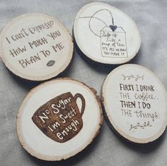 Your place to buy and sell all things handmade Set of 4 wooden coasters Wood Slice Crafts, Wood Burning Crafts, Wood Burning Patterns, Wood Burning Art, Wood Crafts, Wood Craft Patterns, Coffee Coasters, Diy Coasters, Cute Coffee Quotes
