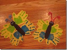 Handprint Butterflies...cute library craft idea...@Jeretta Self Ivey Self Ivey Hall.