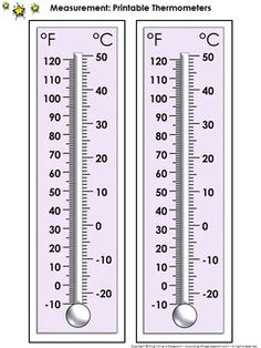 Thermometer Measurement Tools: Printable Thermometer Celsius and Fahrenheit - U.S. Customary and Metric System - King Virtue's Classroom  Never run out of thermometers again! Use this item to print thermometers (Celsius and Fahrenheit) for your students. These are great for math, science, and other classroom activities. Starting your unit on measurement? Send a thermometer home with each student! Simply copy them on cardstock and laminate them for extra durability.