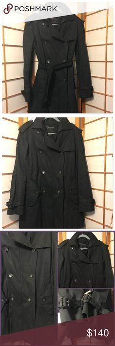 All Saints Mac Black Trench This is an Excellent Pre-owned All Saints Mac Trench in Black Size UK size 10. It has the most amazing details everywhere. From buckled cuffs to the details on the back of the collar to the button details up the back. Coming and going you will make a statement in this coat!! It has a removable belt, this coat can be worn so many ways and will never go out of style.. I just have so many coats & it just sits in my closet. Any questions please ask. All Saints Jackets…