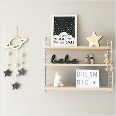 Image of Bebe acrylic sign, monochrome shelfie with planet and stars mobile and kids decor for nursery room by Lala loves decor