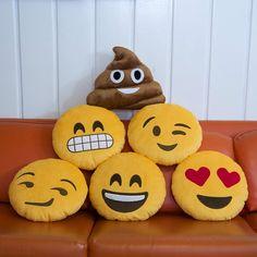 Almofada adorável de emoji (expressão facial) almofada redonda amarela de pelúcia
