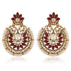 Lovely Red & Off White Color Earrings