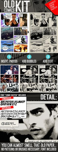 Old Comics Generator Action Kit for Photoshop: Photo Effects Photoshop created by Comic Template, Storyboard Template, Old Comics, Vintage Comics, Photoshop Photos, Photoshop Actions, Effects Photoshop, Text Effects, Dibujo