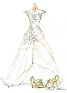Christmas Gift 2104 - Sketch of Wedding Dress & Shoes are perfect for a Christmas Gift 2014. https://www.etsy.com/listing/206396434/sketch-of-wedding-dress-shoes-one-year?ref=shop_home_active_11