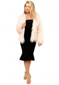 Fiore - Pink Fluffy Faux Fur Coat