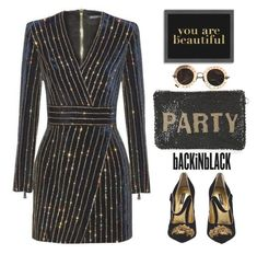 """""""PARTY IN BLACK"""" by shoaleh-nia ❤ liked on Polyvore featuring Balmain, Mary Frances Accessories, Gucci, Americanflat and Dolce&Gabbana"""