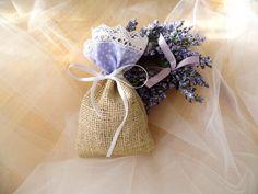 Lavender Wedding Favor Bag Burlap Gift by MelindasSewingCorner