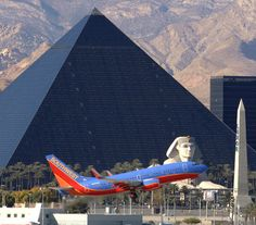 thought this was an awesome pic of a Southwest Airlines jet taking off from McCarran International Airport, Las Vegas, with The Luxor Hotel Casino in the background - you don't  realise how close the airport is to The Strip until you see a pic like this !