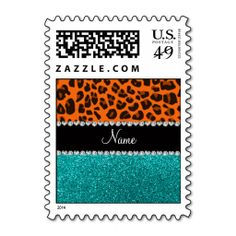 Personalized name orange leopard turquoise glitter stamps
