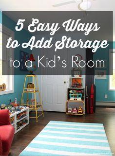 Every mom wants this info! 5 easy ways to add storage space to your kid's room - on a budget. Dagmar's Home, DagmarBleasdale.com. #kidsroom #nursery #organizing #storage #DIY #idea