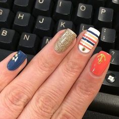 Nautical Nails in red, blue and white via IG'er #melcisme #stripes #nailart