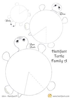 Hattifant`s hungry Turtle Family - Hattifant Arts And Crafts For Teens, Paper Crafts For Kids, Easy Crafts For Kids, Diy For Kids, Diy And Crafts, Animal Cutouts, Turtle Crafts, Mandala Pattern, Animal Crafts