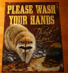 lodge home decor | ... YOUR HANDS Log Cabin Lodge River Home Decor ADORABLE RACOON SIGN NEW