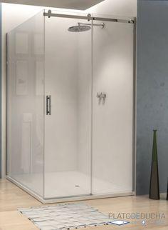Mampara de ducha Light A3. Angular, con una hoja corredera y dos fijas y con el Perfil en Acero Inoxidable