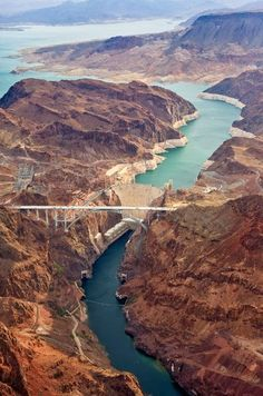Hoover Dam (with bypass bridge in the foreground stretching from Arizona to Nevada)
