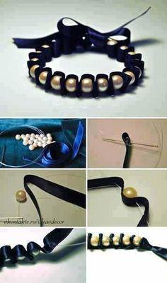 Elegant silky black and glossy golden bracelet