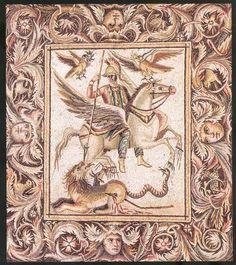 The killing of the Chimera - Bellerophon, riding his winged horse Pegasus, kills the Chimera (a monster composed by a lion, a goat and a snake) - The Mosaics of Zeugma, Turkey