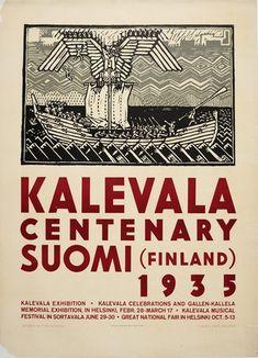 Kalevala Centenary Suomi Finland 1935 poster