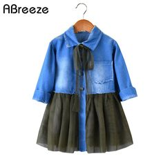 New spring autumn girls clothes casual Denim style mesh dresses for girls turn-down collar girls ball gown Girl Outfits, Casual Outfits, Denim Style, Girl Falling, Mesh Dress, Denim Fashion, Ball Gowns, Girls Dresses, Autumn