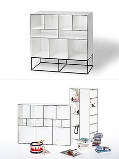 Wogg 52 isa versatile storage system withclear linesand light structure.The pieces can be stacked or combined in various combinations. It'smade of5.2 mm composite boards and translucent r...