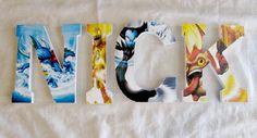 wooden letters with skylander image 6th Birthday Parties, Birthday Fun, 4 Kids, Diy For Kids, Skylanders Party, Kids Bedroom, Bedroom Ideas, Pokemon, Kids Decor