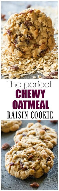 The Best Chewy Oatmeal Raisin Cookies perfect texture full of oats raisins and nuts. the-girl-who-ate- - Chewy Candy - Ideas of Chewy Candy Köstliche Desserts, Delicious Desserts, Dessert Recipes, Yummy Food, Tea Cakes, Oatmeal Cookie Recipes, Chewy Oatmeal Raisin Cookies, Oatmeal Raisins, Keto Oatmeal